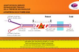 TRAMWAY DE RABAT SALE : ADAPTATION DU SERVICE EN RAISON DES TRAVAUX DE LA TREMIE DE SIDI MAKHLOUF A PARTIR DU 19 OCTOBRE 2021